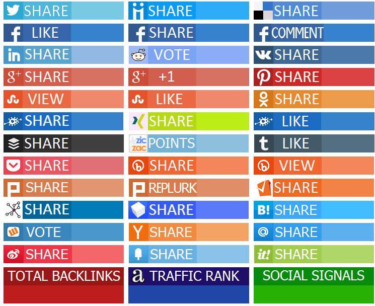 social media share count with social bookmarking and sharing buttons